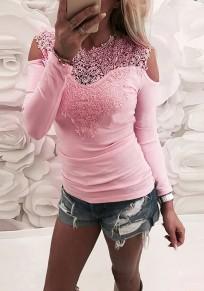 Rosa Flickwerk Spitze Rundhals Mode Bluse ausgeschnitten