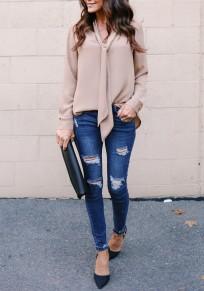 Camicetta v-collo con lacci manica lunga chiffona fashion kaki