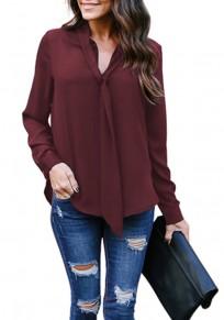 Burgundy Lace-up V-neck Long Sleeve Chiffon Fashion Blouse