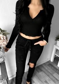 Blusa escotada escote profundo manga larga moda negro
