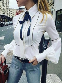 White Buttons Turndown Collar Long Sleeve Puff Sleeve Fashion Ladies Blouse