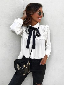 White Ruffle Turndown Collar Long Sleeve Fashion Blouse