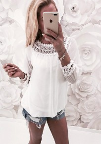 White Cut Out Round Neck Long Sleeve Fashion Blouse