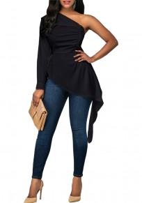 Blusa hombro asimétrico plisado irregulares alto-bajo formal elegante manga larga negro