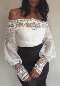 White Patchwork Lace Grenadine Off Shoulder Backless Dolman Sleeve Clubwear Party Blouse