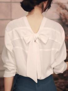 Chemisier dos avec noeud papillon manches longues élégant femme blouse blanc