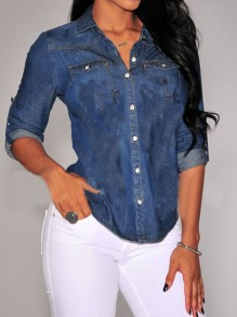 Dark Blue Single Breasted Turndown Collar Long Sleeve Casual Vintage Denim Blouse
