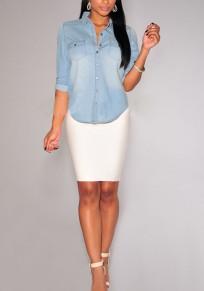 Light Blue Single Breasted Turndown Collar Long Sleeve Vintage Blouse