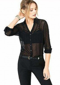 Black Cut Out Single Breasted V-neck Fashion Blouse