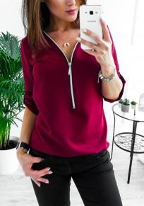 WeinRot Reißverschluss Studded V-Ausschnitt Langarm Mode Bluse