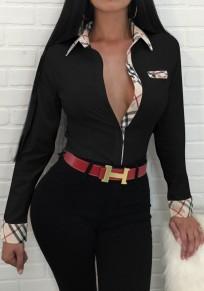 Black Plaid Single Breasted Turndown Collar Long Sleeve Fashion Blouse