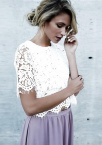White Lace Round Neck Fashion Blouse