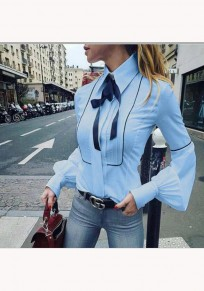 Sky Blue Ribbons Single Breasted Turndown Collar Long Sleeve Blouse