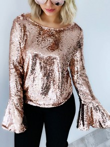 Golden Sequin Tie Back Backless Bell Sleeve Cute Party Blouse