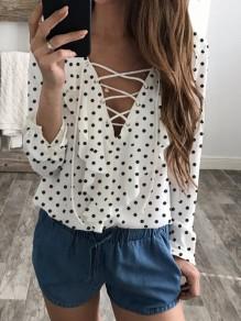 Weiße Kordelzug V-Ausschnitt Langarm Mode Bluse