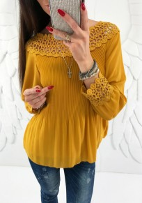 Yellow Patchwork Cut Out Ruffle Boat Neck Fashion Blouse