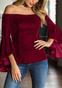Burgundy Ruffle Off Shoulder Backless Flare Sleeve Pleuche Elegant Clubwear Party Velvet Blouse