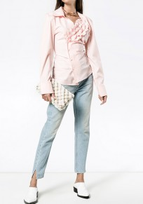 Pink Patchwork Irregular Single Breasted Turndown Collar Fashion Blouse