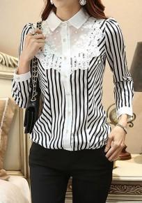 Chemisier à rayée dentelle col boutonnage manches longues femme élégant noir et blanc