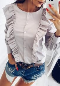 Graue Rüschen Knöpfe Single Breasted Nette Rundhals Bluse