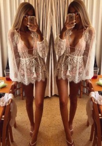 White Patchwork Lace Drawstring Plunging Neckline Long Sleeve Blouse