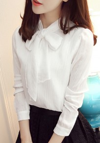 White Bow Buttons Turndown Collar Long Sleeve Fashion Blouse