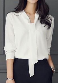 Camicetta cintura girocollo manica lunga elegante bianca