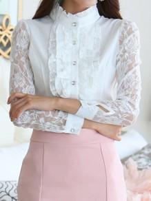 Weiß Spitze Transparent Rüschen Knöpfe Stehkragen Langarm Einreihig Elegantes Tunika Bluse Damen Mode Oberteile Günstige