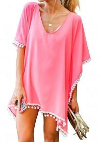 Pink Tassel V-neck Short Sleeve Beach Kimono Cover Up Blouse