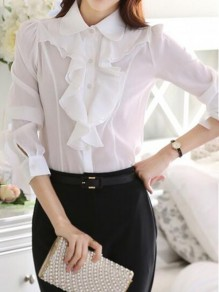 White Ruffle Buttons Peter Pan Collar Long Sleeve Office Worker Blouse