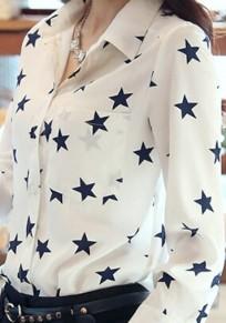 Weiß Sterne Druck V-Ausschnitt Langarm Bluse Business Elegantes Oberteil Damen Mode OL
