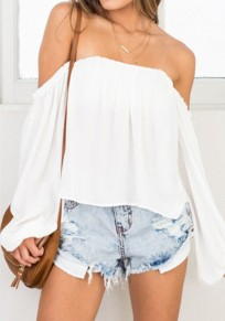 White Draped Chiffon Off Shoulder Backless Sweet Cute Blouse