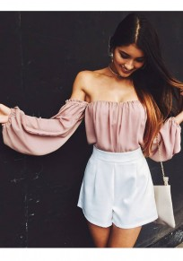 Pink Draped Chiffon Off Shoulder Backless Sweet Cute Blouse