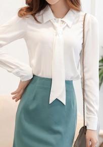 Chemisier col lavallière manches longues élégant femme top blanc