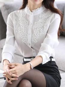 Chemisier avec dentelle boutonnage col cheminée manches longues élégant femme blouse blanc
