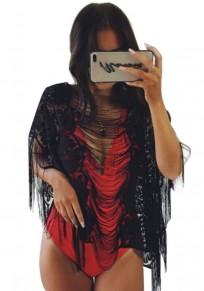 Black Patchwork Lace Tassel Cut Out Fashion Blouse