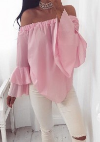 Pink Irregular Boat Neck Off Shoulder Fashion Summer Chiffon Blouse