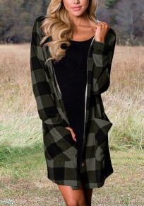 Grey-Black Plaid Pockets Single Breasted Hooded Oversized Casual Blouse