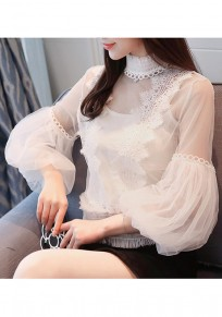 White Lace Round Neck Lantern Sleeve Long Sleeve Chiffon Blouse