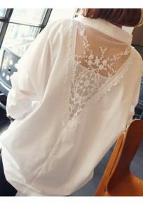 Blusa encaje con cuello en pico alto manga larga elegante blanco