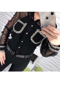 Black Patchwork Print Single Breasted Turndown Collar Fashion Blouse