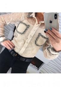 Blusa estampado pecho cuello de dobladillo moda blanco