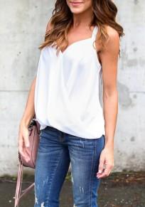 Débardeur en mousseline bretelle v-cou mode femme blouse blanc