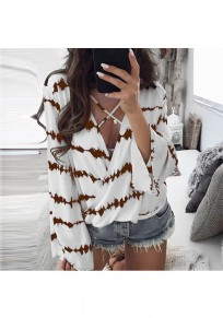 Coffee Floral Print Cut Out V-neck Fashion Blouse