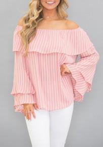 Blusa volante A rayas fuera del hombro sin llama manga flare lindo rosa-blanco