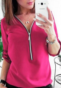 Rose Carmine Zipper Studded V-neck Three Quarter Length Sleeve Blouse