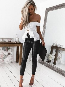 White Ruffle Irregular Peplum Off Shoulder Backless Fashion Blouse