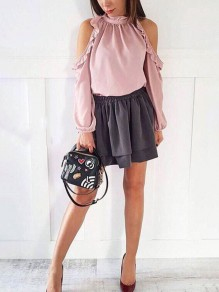 Pink Cut Out Ruffle Round Neck Long Sleeve Fashion Blouse