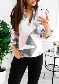 White Geometric Print Ribbons V-neck Long Sleeve Fashion Blouse