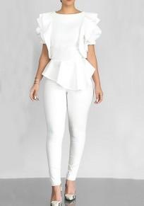 White Ruffle Peplum Round Neck Short Sleeve Banquet Elegant Blouse